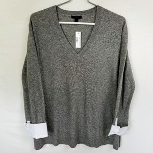 J Crew Long Sleeve V-neck Sweater with Shirt Cuffs